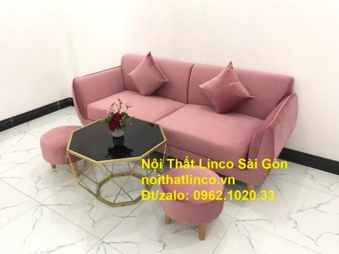 Bộ ghế sofa băng văng 1m9 màu hồng phấn đẹp rẻ sang trọng hiện đại Nội thất Linco Sài Gòn10