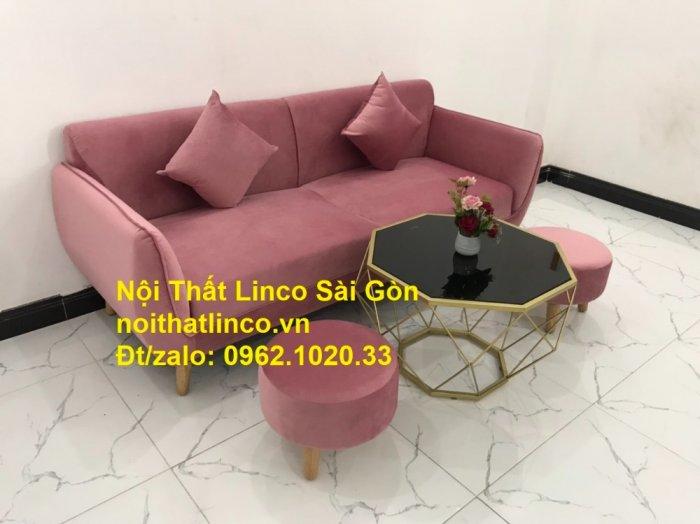 Bộ ghế sofa băng văng 1m9 màu hồng phấn đẹp rẻ sang trọng hiện đại Nội thất Linco Sài Gòn9