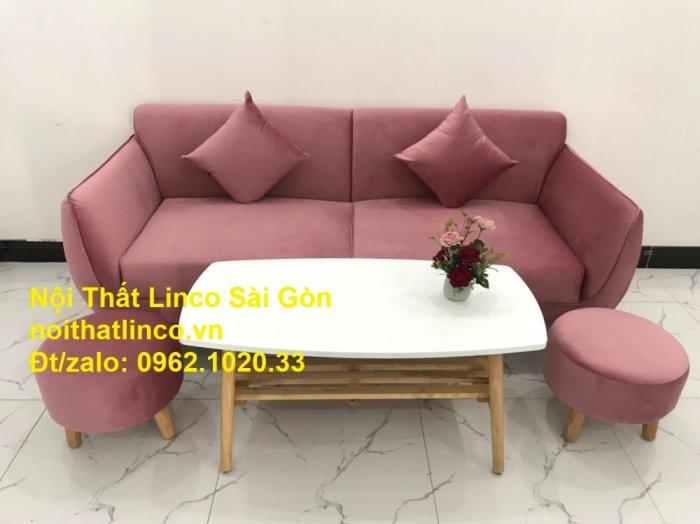 Bộ ghế sofa băng văng 1m9 màu hồng phấn đẹp rẻ sang trọng hiện đại Nội thất Linco Sài Gòn8