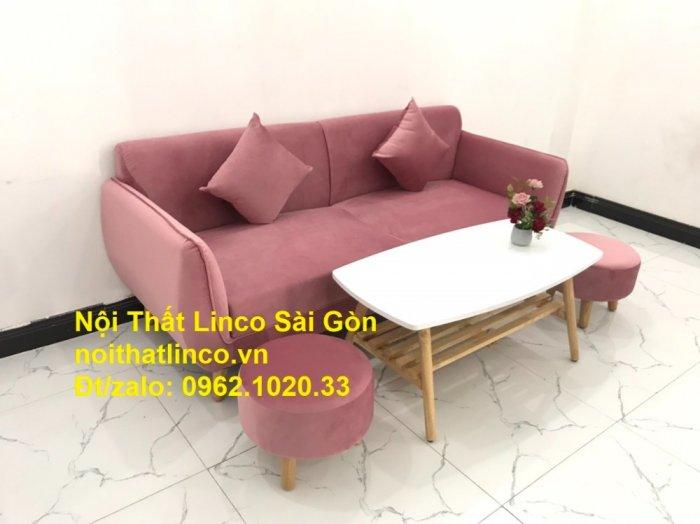 Bộ ghế sofa băng văng 1m9 màu hồng phấn đẹp rẻ sang trọng hiện đại Nội thất Linco Sài Gòn7