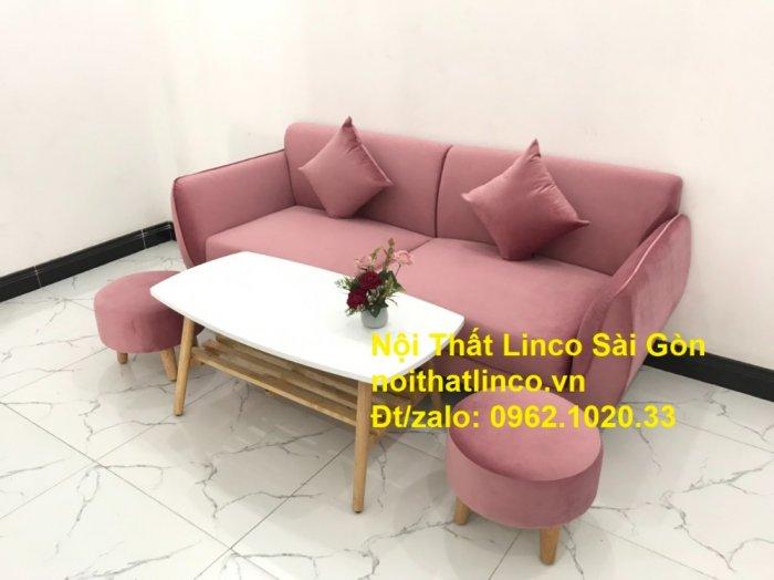 Bộ ghế sofa băng văng 1m9 màu hồng phấn đẹp rẻ sang trọng hiện đại Nội thất Linco Sài Gòn6