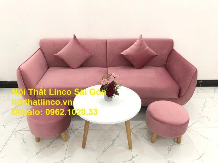 Bộ ghế sofa băng văng 1m9 màu hồng phấn đẹp rẻ sang trọng hiện đại Nội thất Linco Sài Gòn5