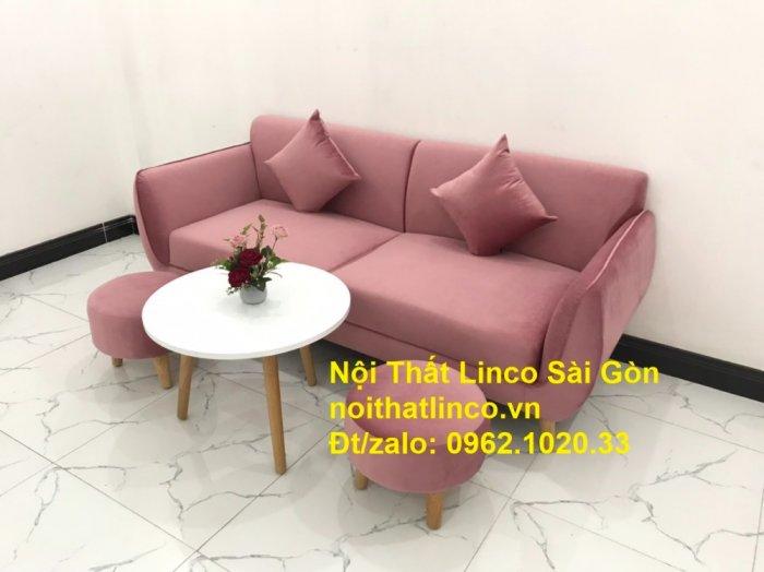 Bộ ghế sofa băng văng 1m9 màu hồng phấn đẹp rẻ sang trọng hiện đại Nội thất Linco Sài Gòn4