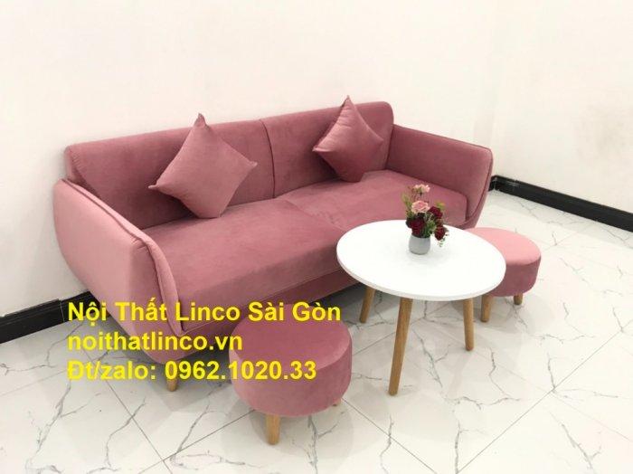 Bộ ghế sofa băng văng 1m9 màu hồng phấn đẹp rẻ sang trọng hiện đại Nội thất Linco Sài Gòn3