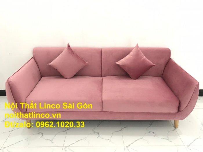 Bộ ghế sofa băng văng 1m9 màu hồng phấn đẹp rẻ sang trọng hiện đại Nội thất Linco Sài Gòn2