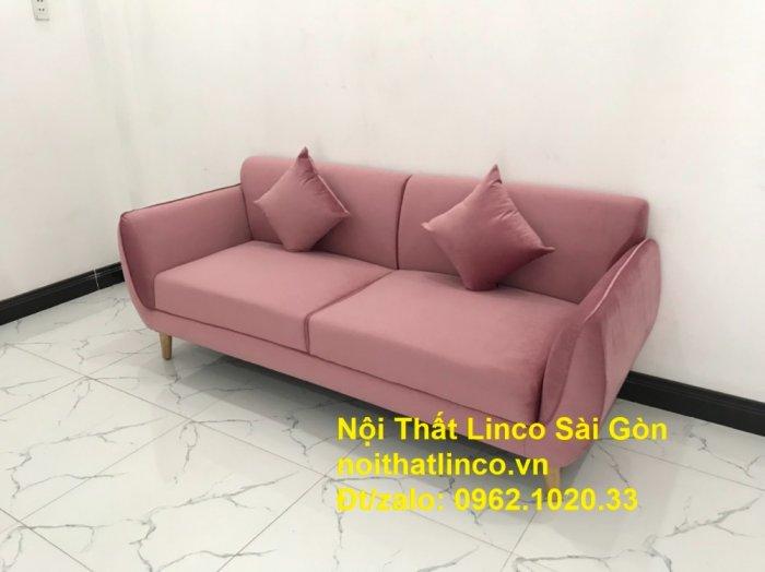 Bộ ghế sofa băng văng 1m9 màu hồng phấn đẹp rẻ sang trọng hiện đại Nội thất Linco Sài Gòn1