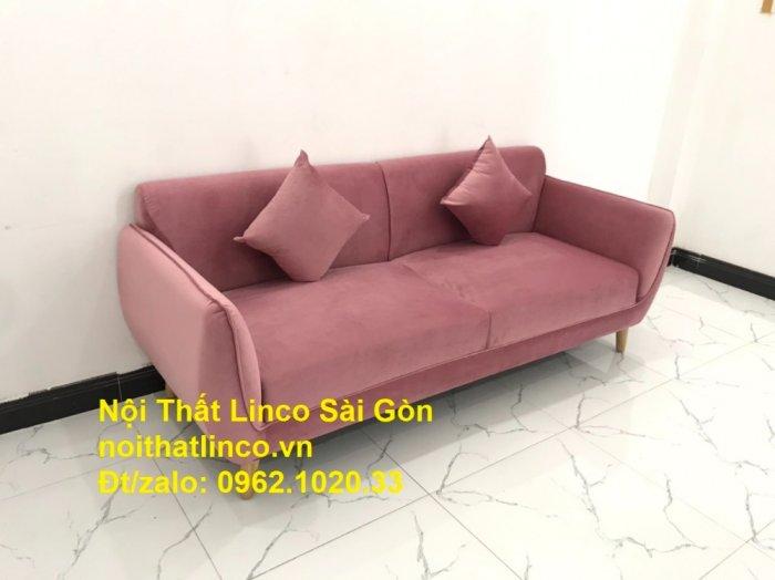 Bộ ghế sofa băng văng 1m9 màu hồng phấn đẹp rẻ sang trọng hiện đại Nội thất Linco Sài Gòn0