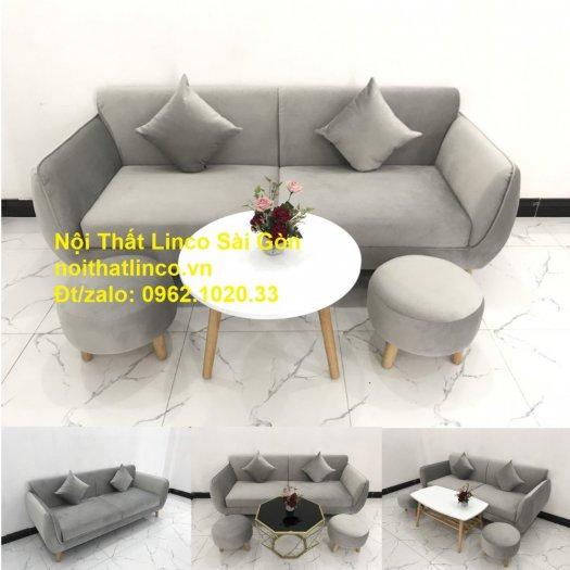Bộ bàn ghế salon sopha băng văng xám lông chuột giá rẻ ở tại Nội thất Linco Sài Gòn12