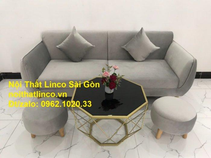 Bộ bàn ghế salon sopha băng văng xám lông chuột giá rẻ ở tại Nội thất Linco Sài Gòn11