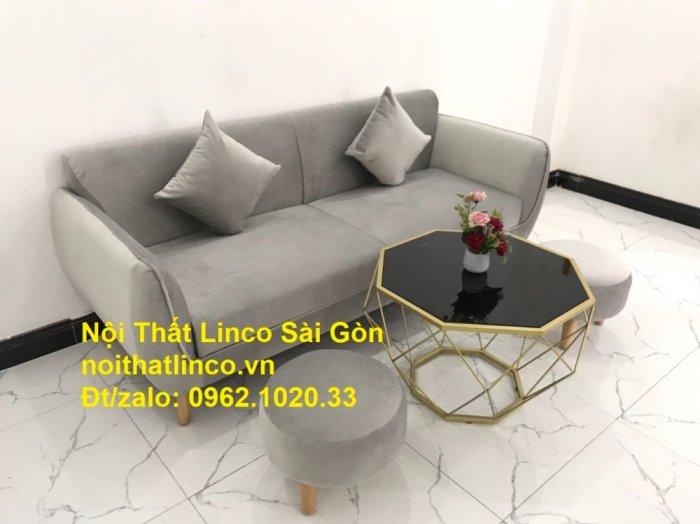 Bộ bàn ghế salon sopha băng văng xám lông chuột giá rẻ ở tại Nội thất Linco Sài Gòn9