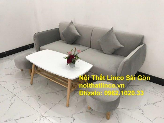 Bộ bàn ghế salon sopha băng văng xám lông chuột giá rẻ ở tại Nội thất Linco Sài Gòn7