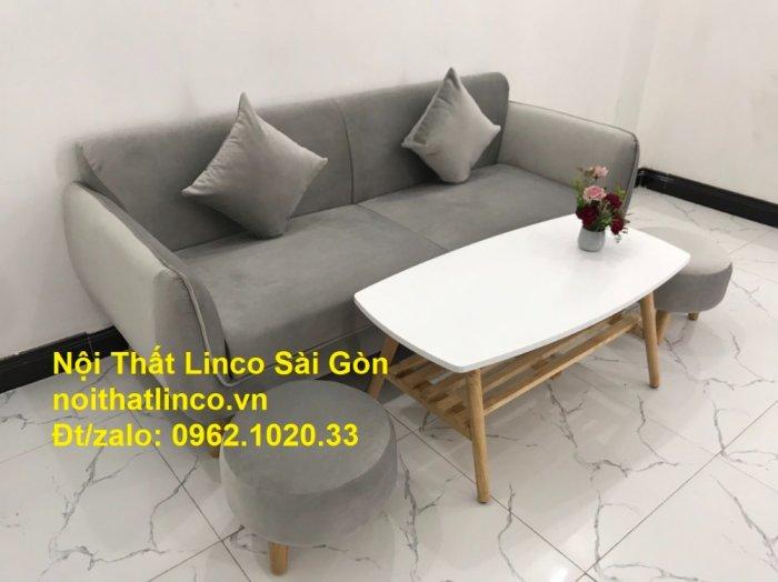 Bộ bàn ghế salon sopha băng văng xám lông chuột giá rẻ ở tại Nội thất Linco Sài Gòn6