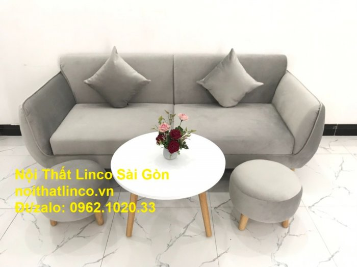 Bộ bàn ghế salon sopha băng văng xám lông chuột giá rẻ ở tại Nội thất Linco Sài Gòn5