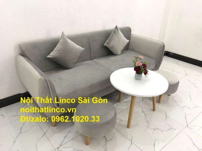 Bộ bàn ghế salon sopha băng văng xám lông chuột giá rẻ ở tại Nội thất Linco Sài Gòn3