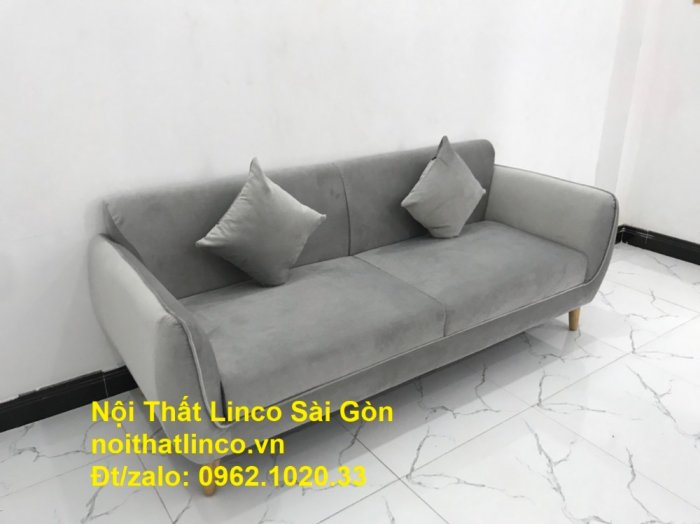 Bộ bàn ghế salon sopha băng văng xám lông chuột giá rẻ ở tại Nội thất Linco Sài Gòn0
