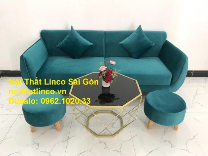 Bộ ghế salon sopha xanh cổ vịt giá rẻ | salong xanh lá cây phòng khách đẹp | Nội thất Linco Sài Gòn11