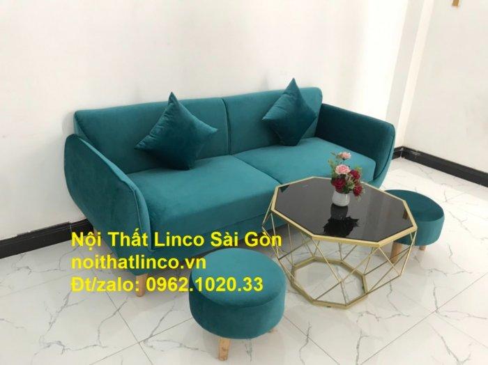 Bộ ghế salon sopha xanh cổ vịt giá rẻ | salong xanh lá cây phòng khách đẹp | Nội thất Linco Sài Gòn9