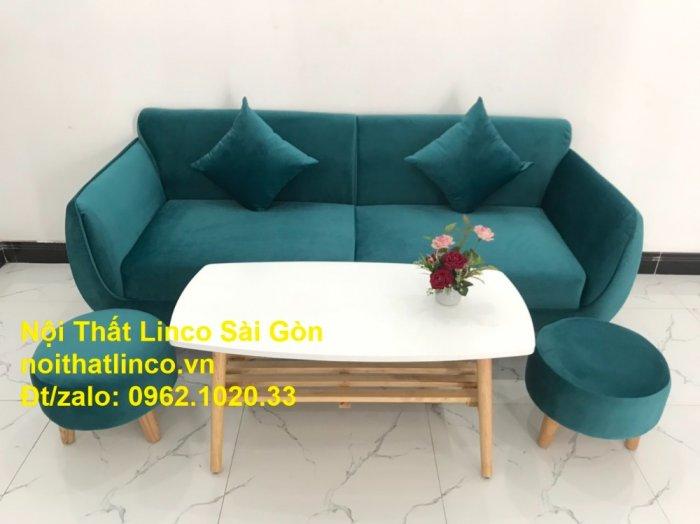 Bộ ghế salon sopha xanh cổ vịt giá rẻ | salong xanh lá cây phòng khách đẹp | Nội thất Linco Sài Gòn8