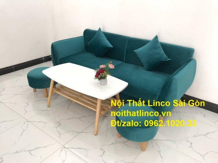 Bộ ghế salon sopha xanh cổ vịt giá rẻ | salong xanh lá cây phòng khách đẹp | Nội thất Linco Sài Gòn7