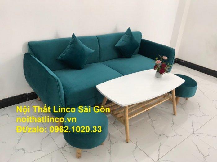 Bộ ghế salon sopha xanh cổ vịt giá rẻ | salong xanh lá cây phòng khách đẹp | Nội thất Linco Sài Gòn6