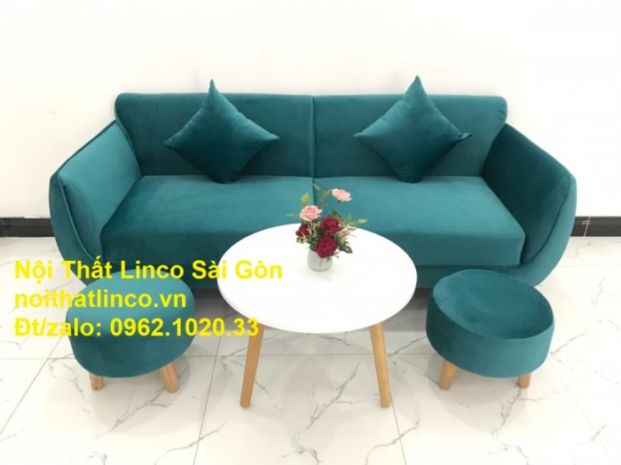 Bộ ghế salon sopha xanh cổ vịt giá rẻ | salong xanh lá cây phòng khách đẹp | Nội thất Linco Sài Gòn5