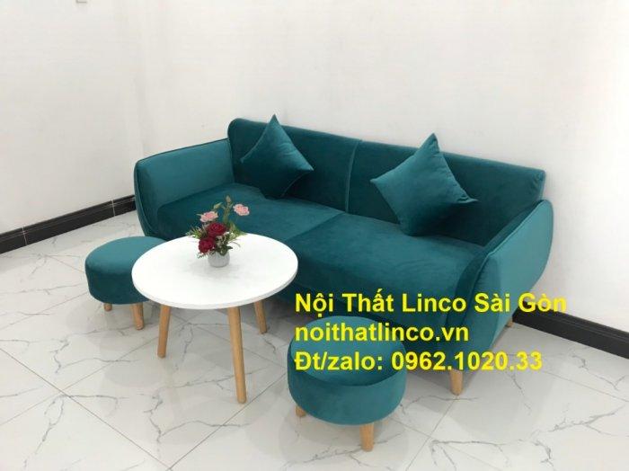 Bộ ghế salon sopha xanh cổ vịt giá rẻ | salong xanh lá cây phòng khách đẹp | Nội thất Linco Sài Gòn4