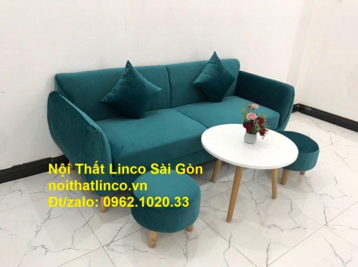 Bộ ghế salon sopha xanh cổ vịt giá rẻ | salong xanh lá cây phòng khách đẹp | Nội thất Linco Sài Gòn3
