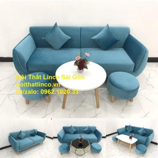 Bộ ghế sofa băng 1m9 xanh dương nước biển   sopha giá rẻ xanh dương da trời đẹp   Linco Sài Gòn12