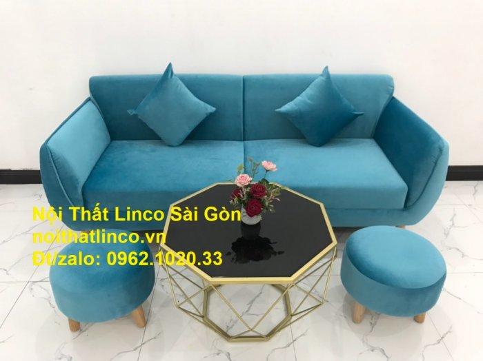 Bộ ghế sofa băng 1m9 xanh dương nước biển   sopha giá rẻ xanh dương da trời đẹp   Linco Sài Gòn11