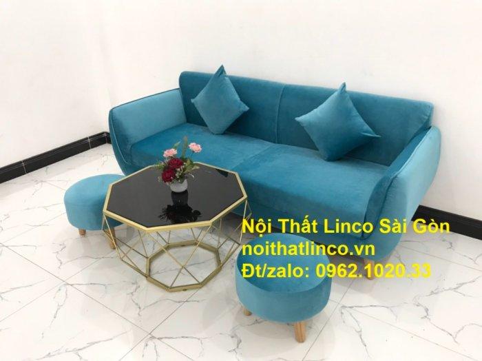 Bộ ghế sofa băng 1m9 xanh dương nước biển   sopha giá rẻ xanh dương da trời đẹp   Linco Sài Gòn10