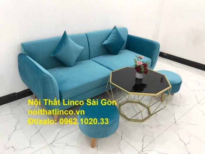 Bộ ghế sofa băng 1m9 xanh dương nước biển   sopha giá rẻ xanh dương da trời đẹp   Linco Sài Gòn9