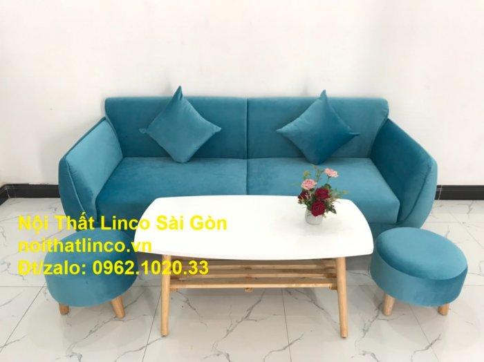 Bộ ghế sofa băng 1m9 xanh dương nước biển   sopha giá rẻ xanh dương da trời đẹp   Linco Sài Gòn8