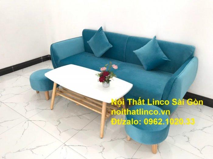Bộ ghế sofa băng 1m9 xanh dương nước biển   sopha giá rẻ xanh dương da trời đẹp   Linco Sài Gòn7