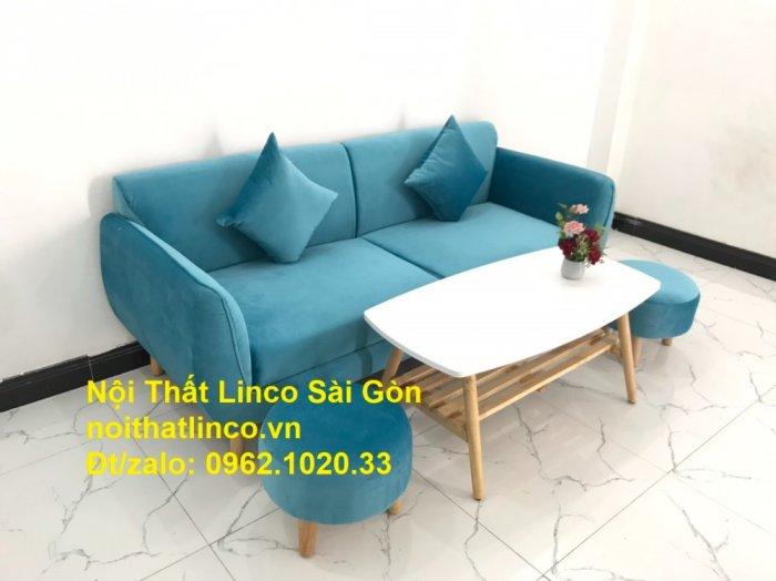 Bộ ghế sofa băng 1m9 xanh dương nước biển   sopha giá rẻ xanh dương da trời đẹp   Linco Sài Gòn6