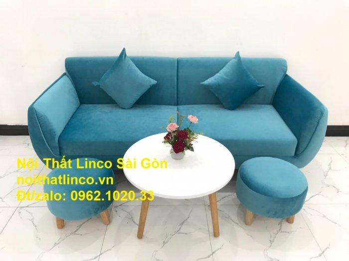 Bộ ghế sofa băng 1m9 xanh dương nước biển   sopha giá rẻ xanh dương da trời đẹp   Linco Sài Gòn5