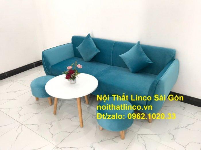Bộ ghế sofa băng 1m9 xanh dương nước biển   sopha giá rẻ xanh dương da trời đẹp   Linco Sài Gòn4