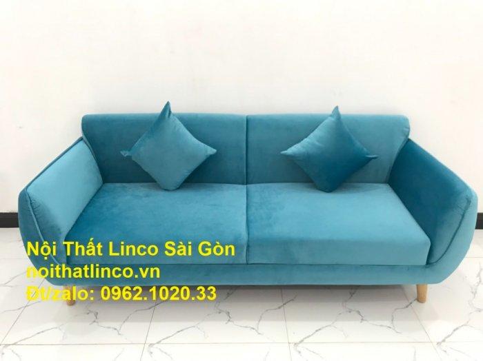 Bộ ghế sofa băng 1m9 xanh dương nước biển   sopha giá rẻ xanh dương da trời đẹp   Linco Sài Gòn2