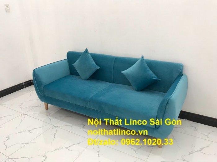 Bộ ghế sofa băng 1m9 xanh dương nước biển   sopha giá rẻ xanh dương da trời đẹp   Linco Sài Gòn1