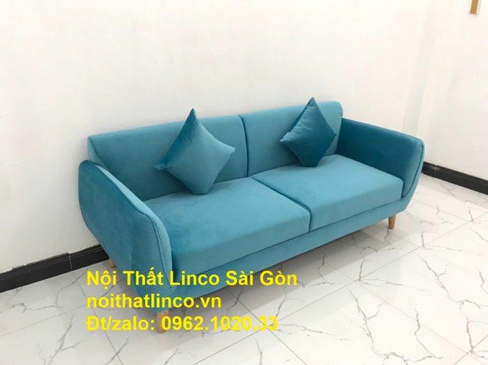 Bộ ghế sofa băng 1m9 xanh dương nước biển   sopha giá rẻ xanh dương da trời đẹp   Linco Sài Gòn0