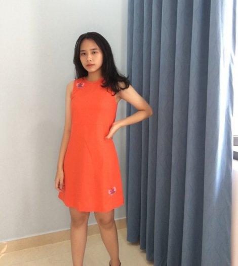 Đầm suông màu cam thêu hình bươm bướm thời trang tự thiết kế D8.30