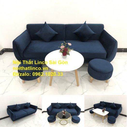 Bộ bàn ghế sofa băng văng 1m9 xanh dương đậm giá rẻ Nội thất Linco Sài Gòn11