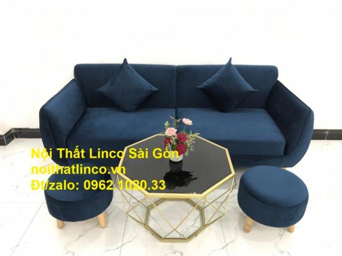 Bộ bàn ghế sofa băng văng 1m9 xanh dương đậm giá rẻ Nội thất Linco Sài Gòn10