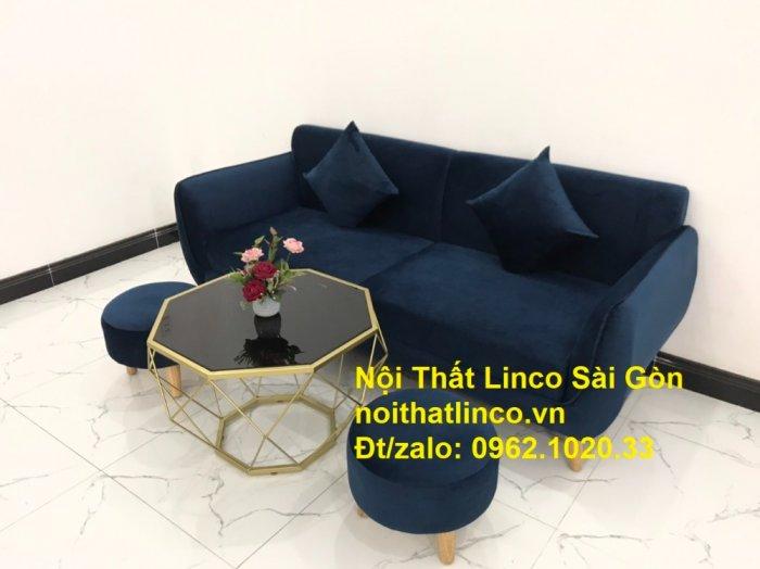 Bộ bàn ghế sofa băng văng 1m9 xanh dương đậm giá rẻ Nội thất Linco Sài Gòn9