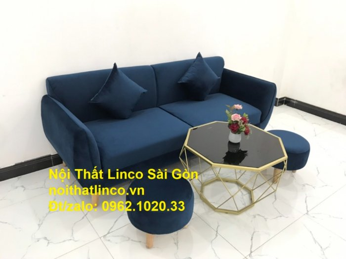 Bộ bàn ghế sofa băng văng 1m9 xanh dương đậm giá rẻ Nội thất Linco Sài Gòn8