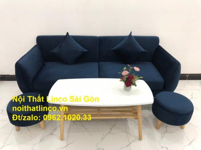 Bộ bàn ghế sofa băng văng 1m9 xanh dương đậm giá rẻ Nội thất Linco Sài Gòn7