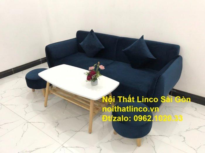 Bộ bàn ghế sofa băng văng 1m9 xanh dương đậm giá rẻ Nội thất Linco Sài Gòn6