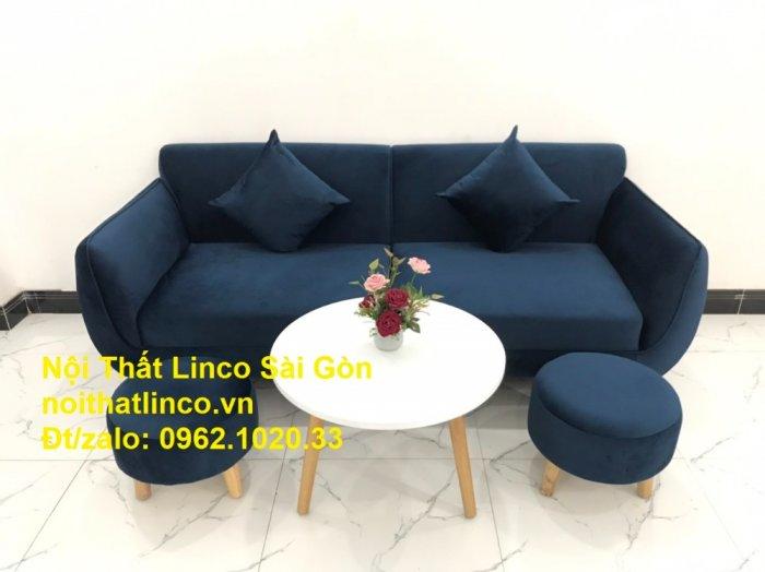 Bộ bàn ghế sofa băng văng 1m9 xanh dương đậm giá rẻ Nội thất Linco Sài Gòn5