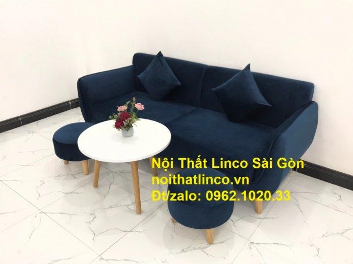 Bộ bàn ghế sofa băng văng 1m9 xanh dương đậm giá rẻ Nội thất Linco Sài Gòn4