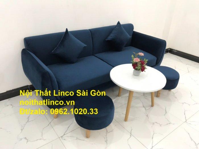 Bộ bàn ghế sofa băng văng 1m9 xanh dương đậm giá rẻ Nội thất Linco Sài Gòn3