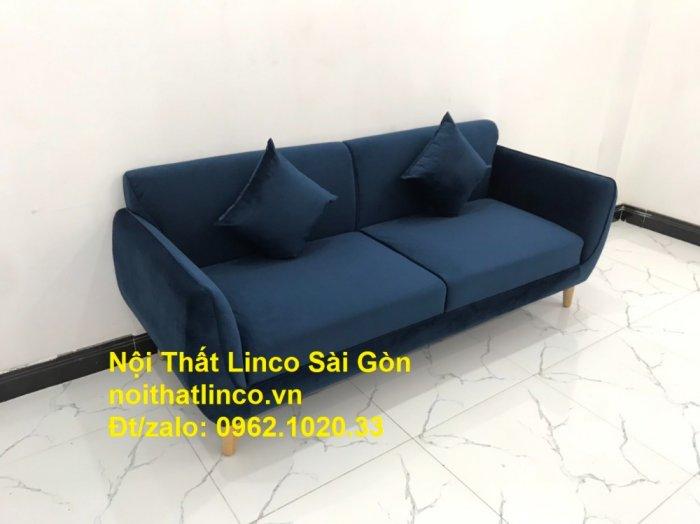 Bộ bàn ghế sofa băng văng 1m9 xanh dương đậm giá rẻ Nội thất Linco Sài Gòn0